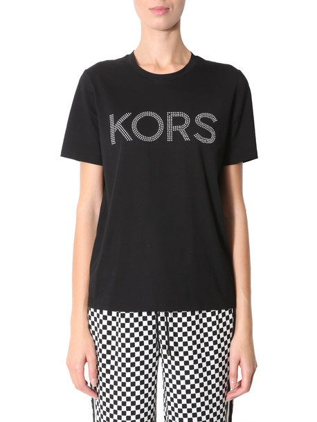 MICHAEL Michael Kors Printed Logo T-shirt With Studs in nero