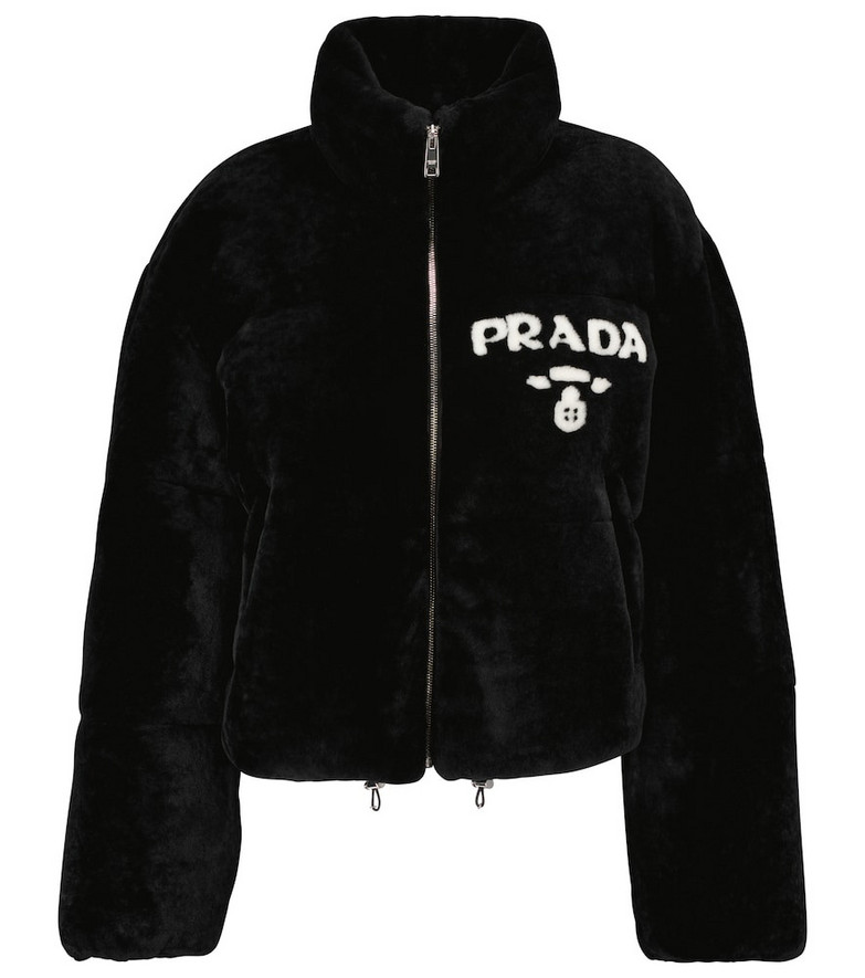 Prada Logo shearling jacket in blue