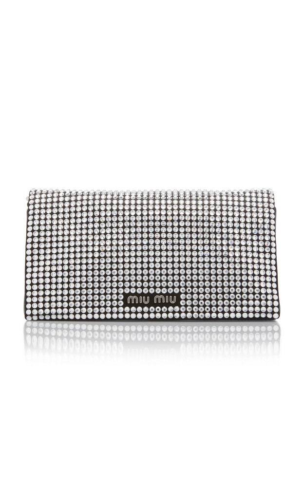 Miu Miu Raso-Embellished Wallet On Chain Bag in silver