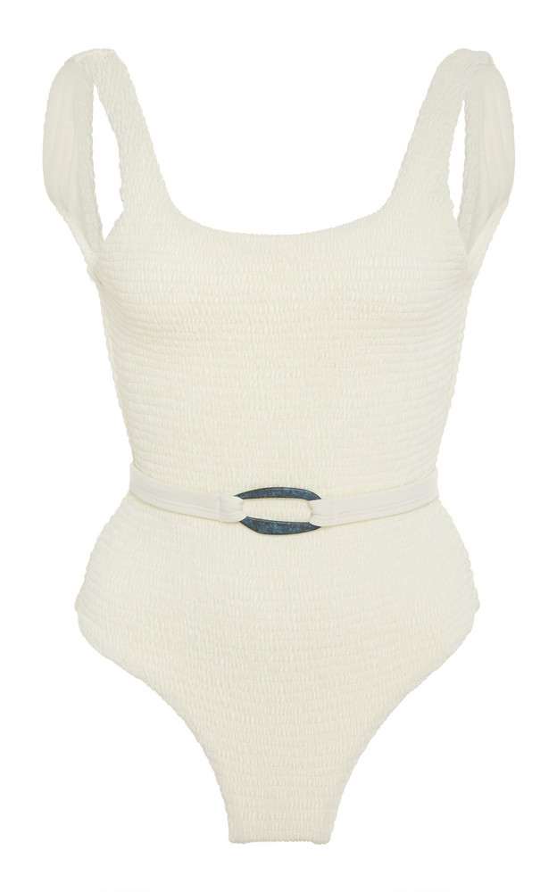 Palm Maya Smocked Belted Swimsuit Size: 1 in white