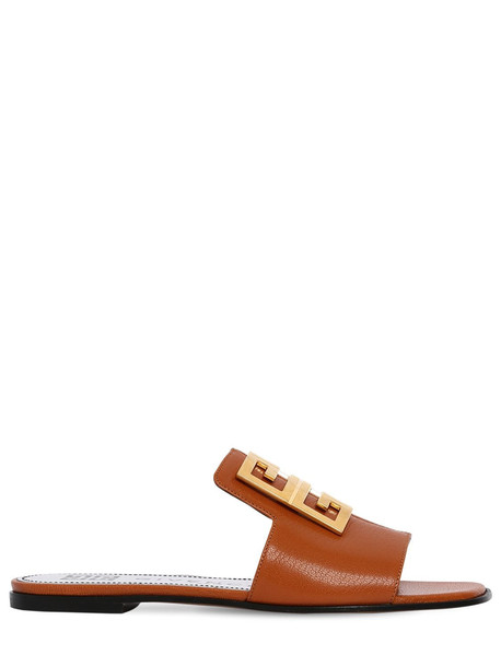 GIVENCHY 10mm 4g Leather Flat Sandals in tan
