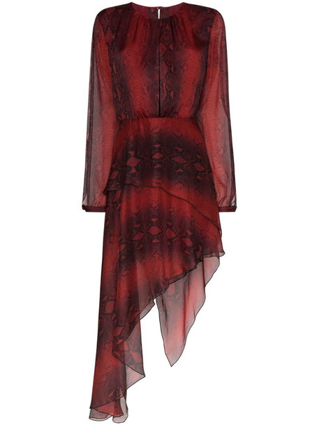 AMIRI asymmetric snake-print dress in red