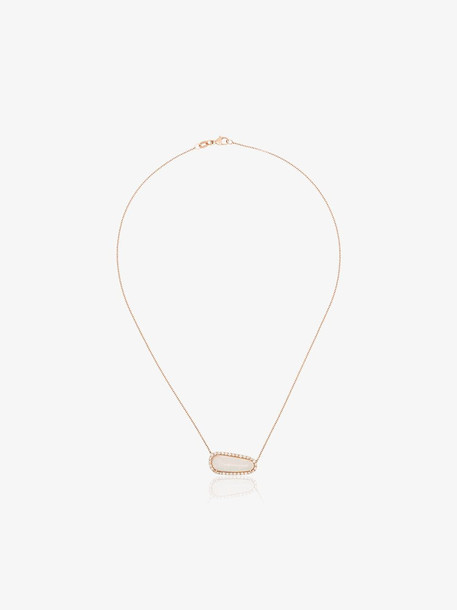 Kimberly Mcdonald shell opal and diamond necklace in gold / rose