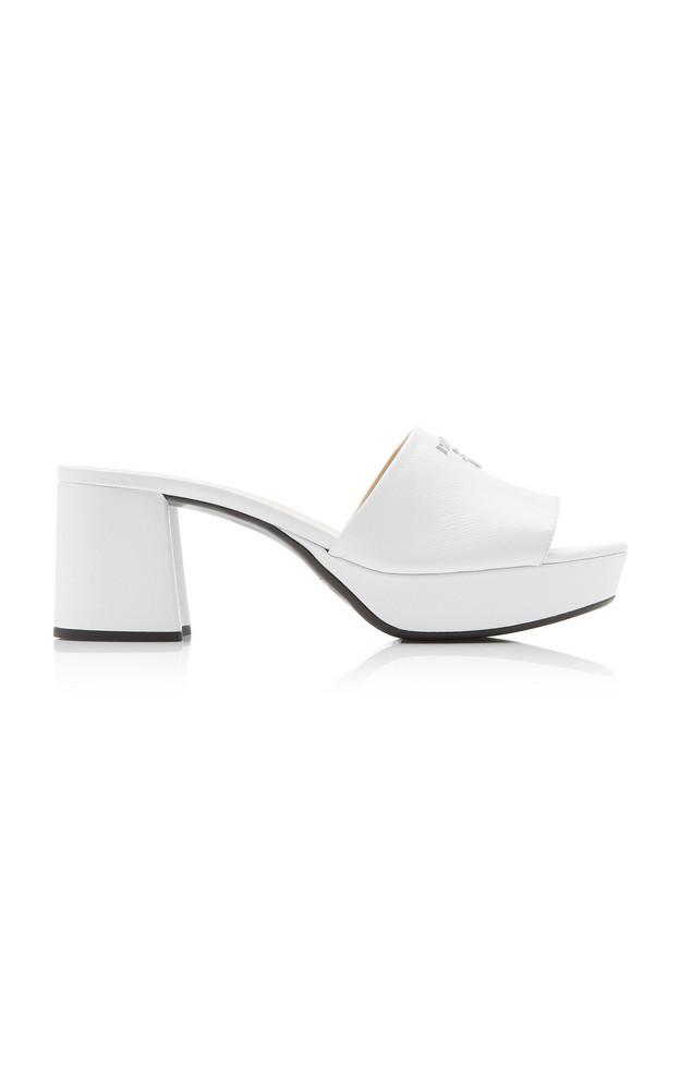 Prada Chunky Logo Leather Sandals in white