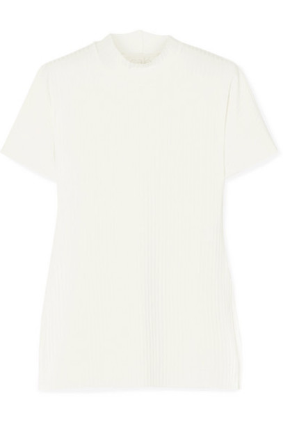 calé calé - Beatrice Ribbed-knit Top - White