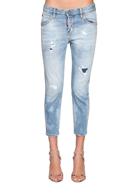 DSQUARED2 Cool Girl Cropped Denim Jeans in blue