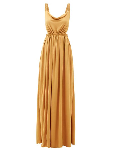Matteau - The Cowl Open-back Jersey Maxi Dress - Womens - Yellow