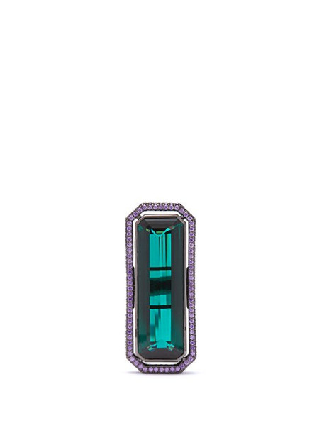 Lynn Ban - Sapphire, Tourmaline & Rhodium Plated Ring - Womens - Green