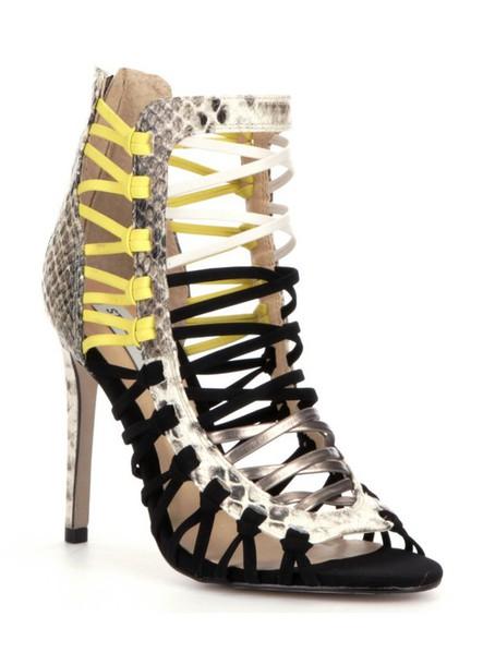 shoes neon neon yellow black black heels black shoes snake snake shoes snake skin snake print pewter cream
