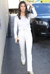 jeans,white jeans,kourtney kardashian,kardashians,celebrity,top,long sleeves