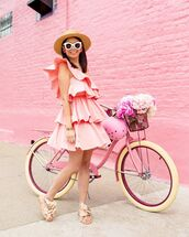 dress,mini dress,one shoulder,pink dress,ruffle,zara,flat sandals,sun hat
