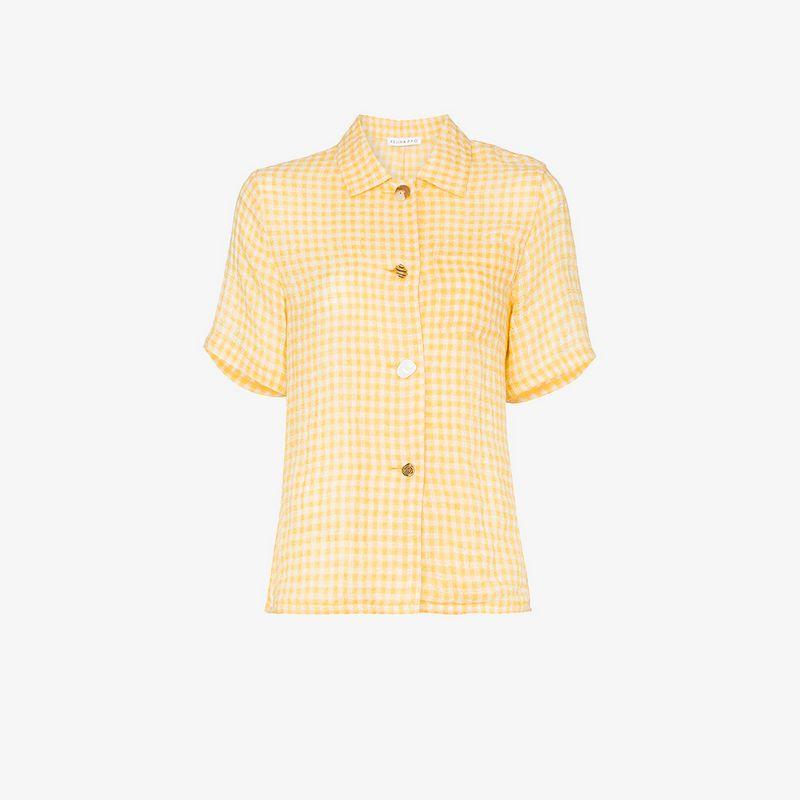 Rejina Pyo gingham short-sleeved linen shirt
