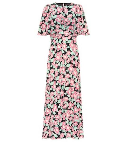 Les Rêveries Floral silk maxi dress in pink