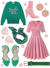 scathingly brilliant,blogger,sweater,socks,shoes,jewels,sunglasses,dress,belt,pink dress,pink boots,ankle boots,green sweater,spring outfits