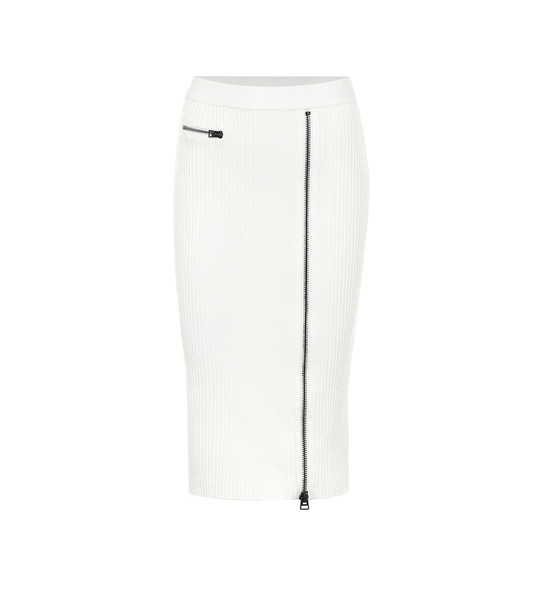 Tom Ford Wool-blend ribbed-knit midi skirt in white