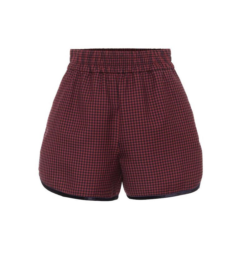 Fendi Check virgin wool shorts in red