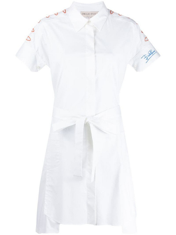 Emilio Pucci embroidered shirt-dress in white