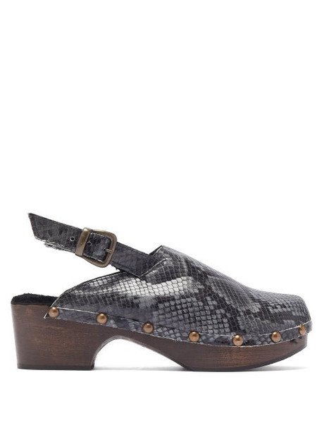 Avec Modération - Ruka Snake Effect Leather And Shearling Clogs - Womens - Dark Grey
