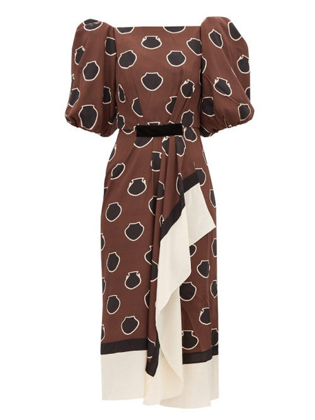 Johanna Ortiz - Unexpected Territory Puff-sleeve Silk Dress - Womens - Brown