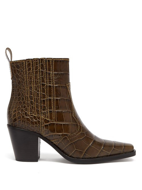 6b118be2187 Ganni - Callie Crocodile Effect Leather Ankle Boots - Womens - Khaki