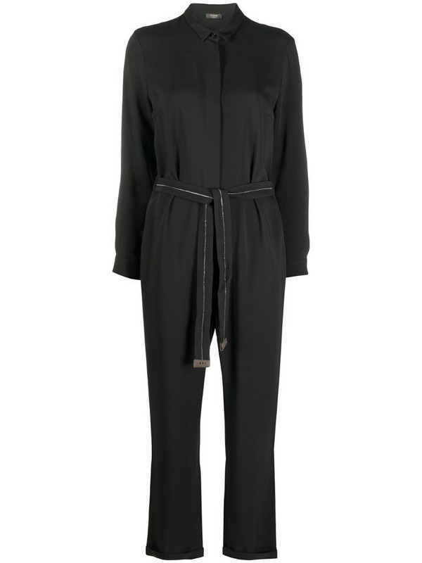 Peserico belted-waist shirt jumpsuit in black
