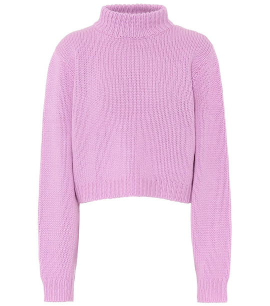 The Row Tabeth cropped cashmere sweater in pink