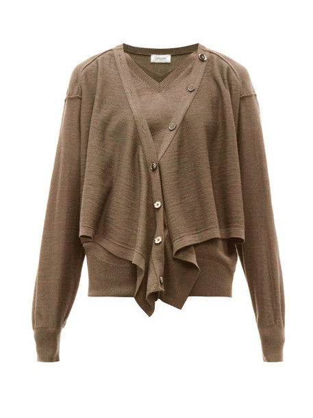 Lemaire - Button Front Merino Wool Blend Sweater - Womens - Brown