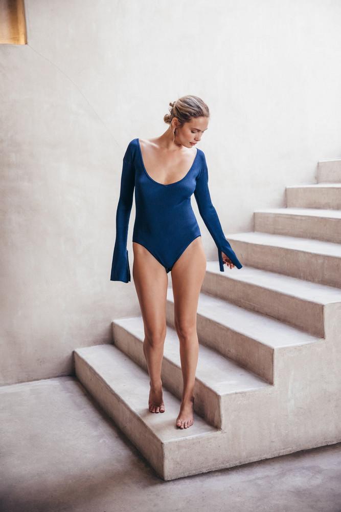 Cult Gaia Jolene Knit Bodysuit - Dark Navy (PREORDER)                                                                                               $178.00