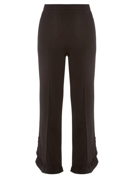 Prada - Ruffled Cropped Crepe Trousers - Womens - Black