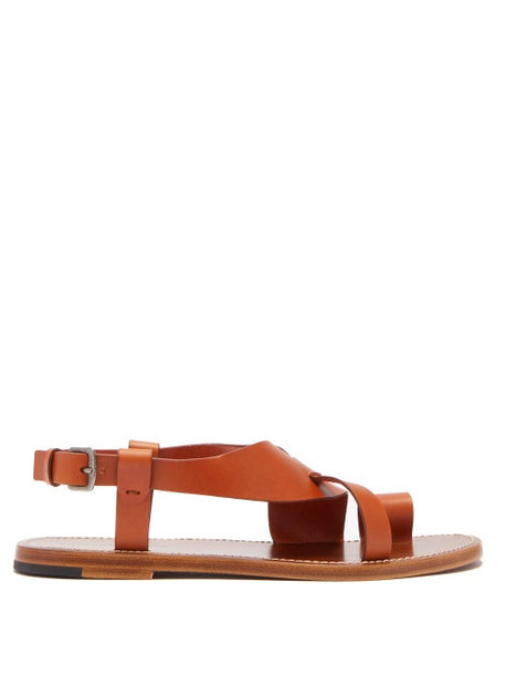 Bottega Veneta - Leather Slingback Sandals - Womens - Tan