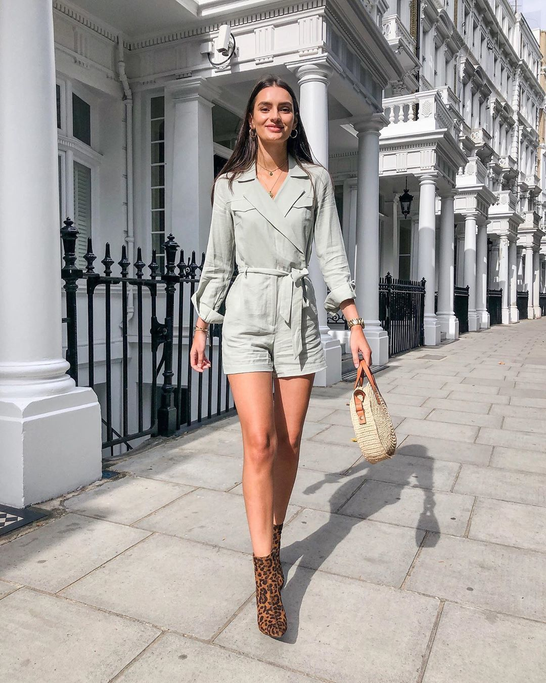 romper long sleeves ankle boots leopard print woven bag