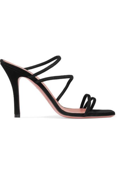 Amina Muaddi - Naima Suede Sandals - Black
