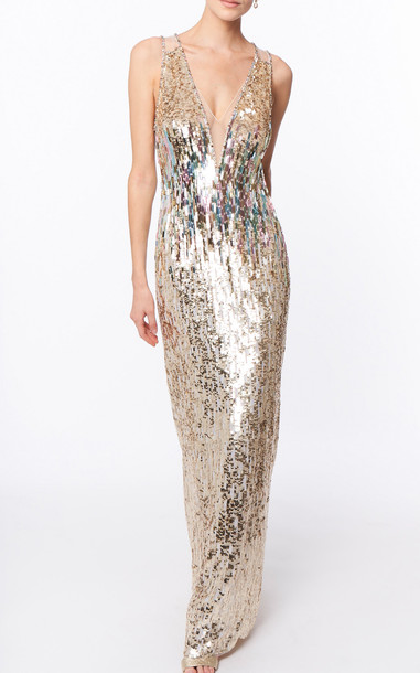 Jenny Packham Rose Finch Bead-Embellished Gown in gold