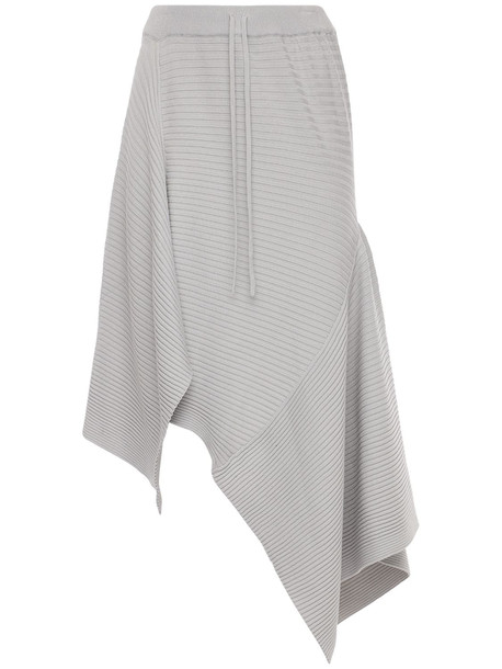 MARQUES'ALMEIDA Asymmetric Viscose Blend Knit Midi Skirt in grey