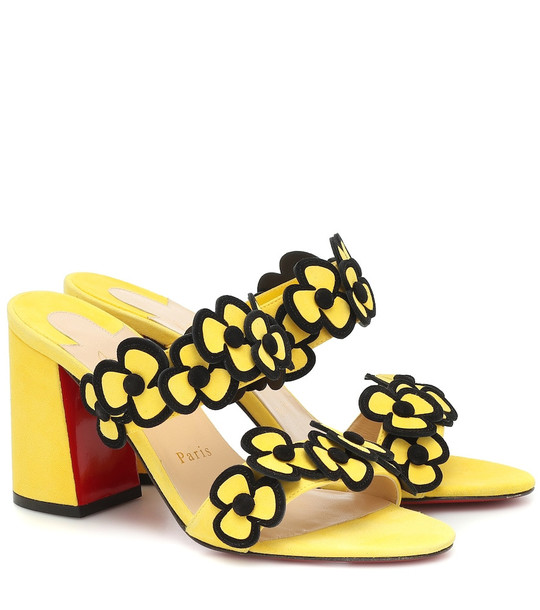 Christian Louboutin Tres Pansy 85 suede sandals in yellow