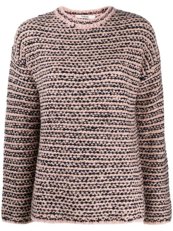 Odeeh chunky knit striped jumper in pink