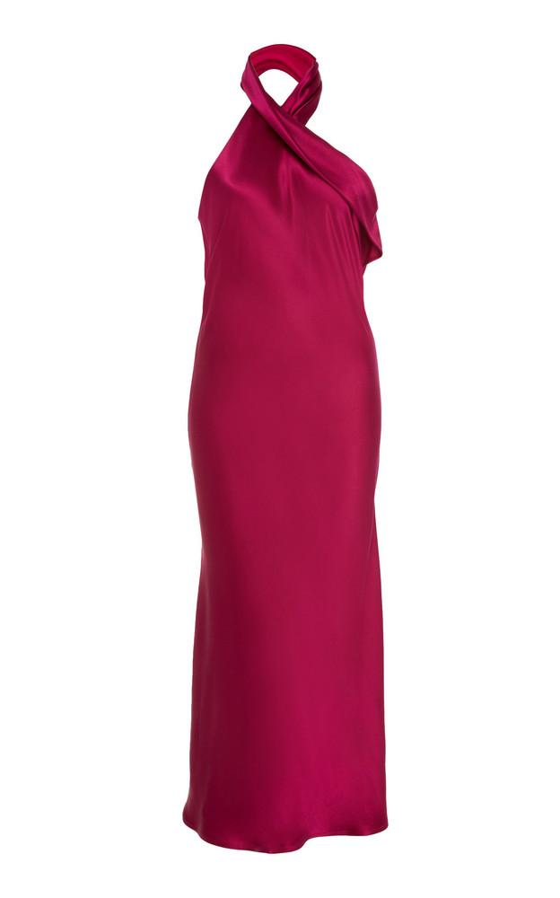 Galvan Exclusive Silk Pandora Midi Dress in purple