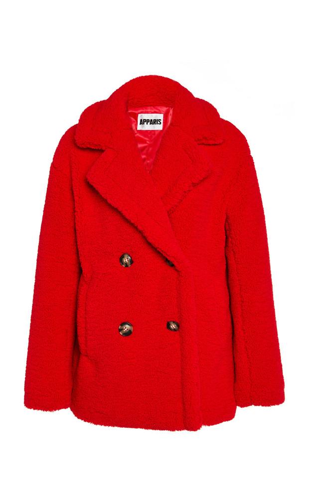 Apparis Kenya Faux Shearling Short Coat in red