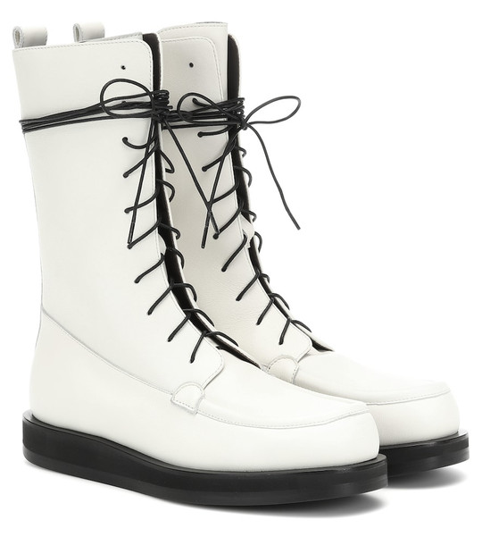 The Row Patty leather ankle boots in white
