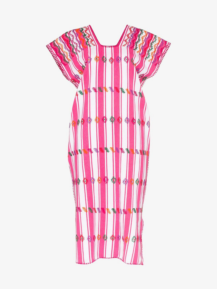 Pippa Holt embroidered striped single panel cotton kaftan dress in pink