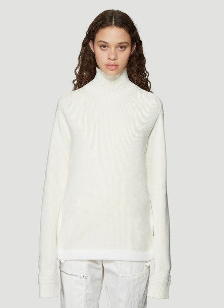 Helmut Lang Military Style Ribbed Knit Mock Neck Sweater in White size M
