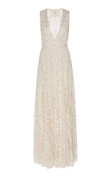 Cucculelli Shaheen Filigree Embroidered Tulle A-Line Gown in white