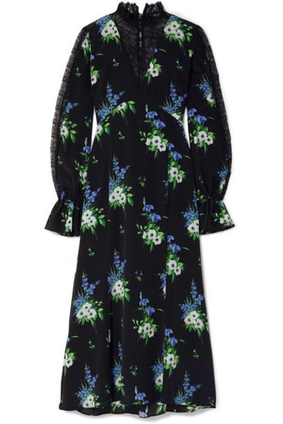 Les Rêveries - Lace-paneled Floral-print Silk Crepe De Chine Midi Dress - Black