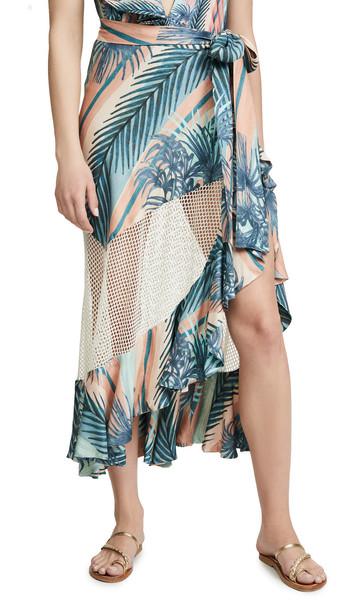PatBO Sunset Stripe Mesh Wrap Skirt in blue