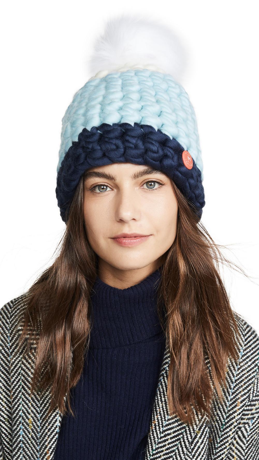 Mischa Lampert Deep Dot Hat in navy / white