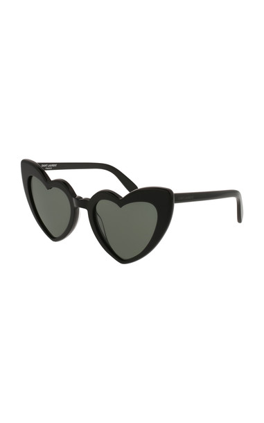 Saint Laurent Loulou Heart-Shaped Acetate Sunglasses in black
