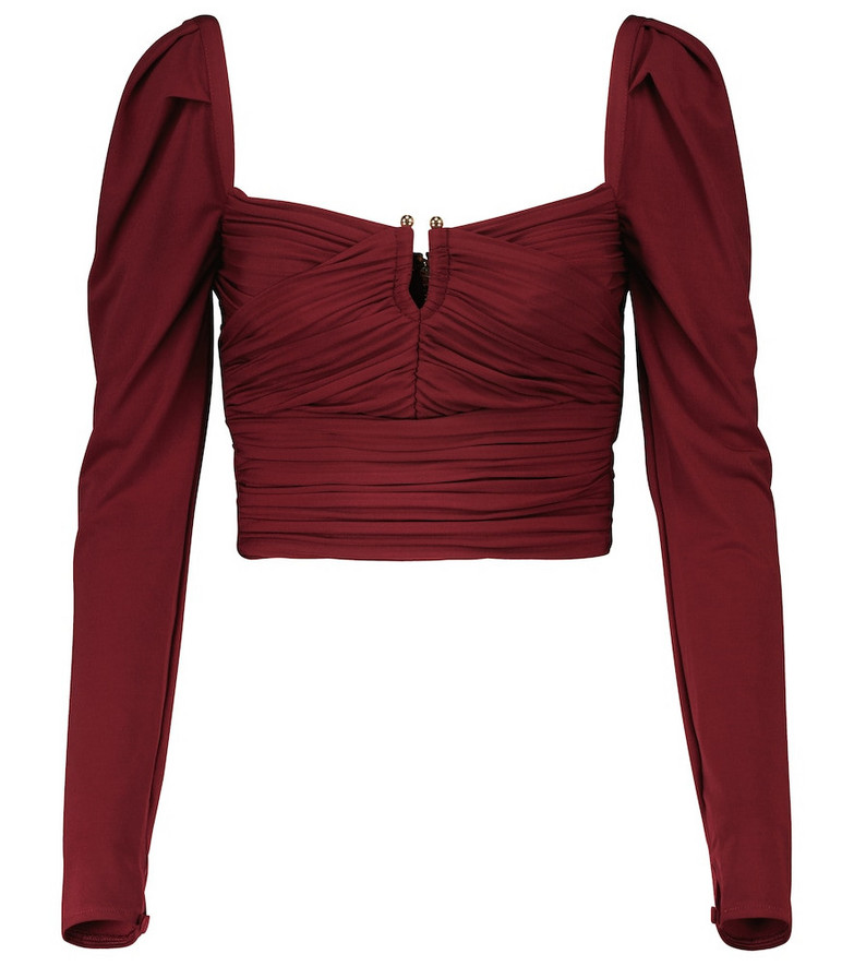 Self-Portrait Ruched stretch-jersey top in red