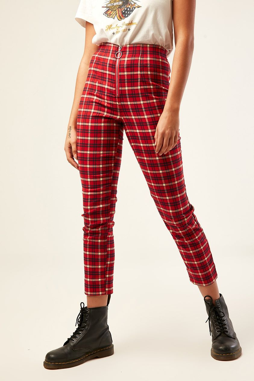 Luck & Trouble High Waist Zip Pant Red Print
