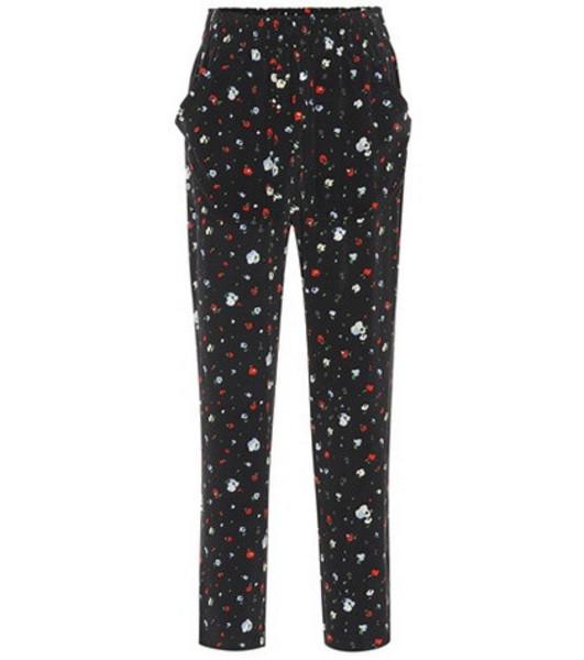 Ganni Nolana floral silk pants in black