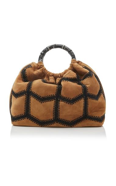 Marina Raphael M'O Exclusive Sienna Crochet Suede Bag in brown
